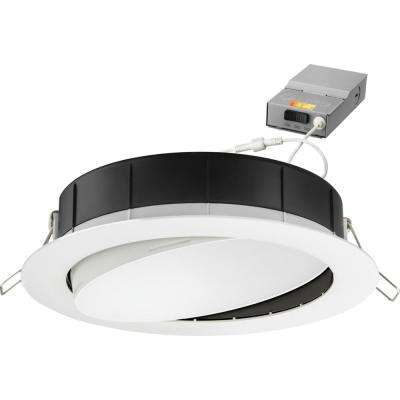 6 in. Selectable Color Temperature New Construction or Remodel Recessed Integrated LED Gimbal Kit, Matte White