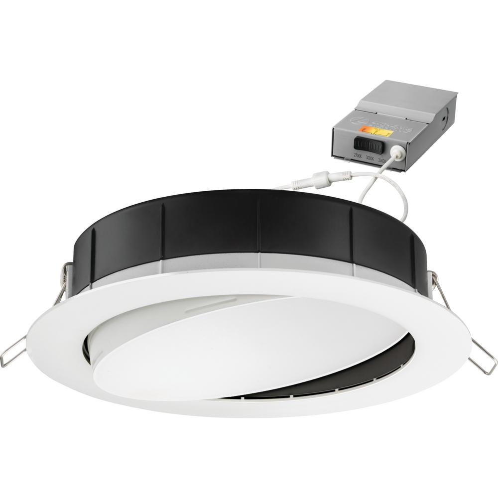 Lithonia Lighting 6 in. Selectable Color Temperature New Construction or Remodel Recessed Integrated LED Gimbal Kit, Matte White