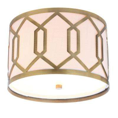 Hex 2-Light 12.5 in. Metal LED Flushmount, Brass Gold