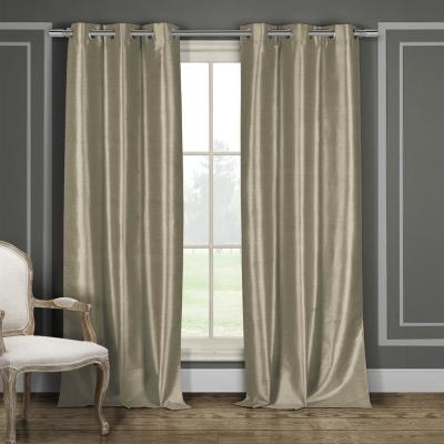 Bali 96 in. L x 38 in. W Polyester Faux Silk Curtain Panel in Mocha (2-Pack)
