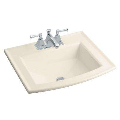 Archer Drop-In Vitreous China Bathroom Sink in Almond with Overflow Drain