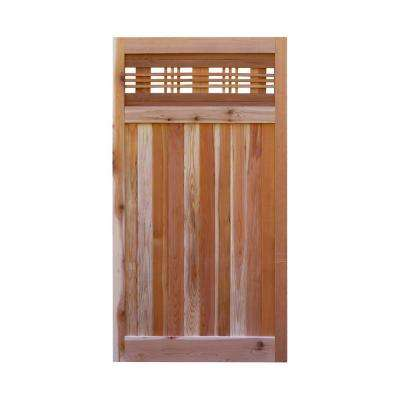 3 ft. x 6 ft. Western Red Cedar Flat Top Horizontal Lattice Fence Gate