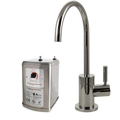 Contemporary Single-Handle Hot and Cold Water Dispenser Faucet in Polished Nickel with Instant Hot Tank