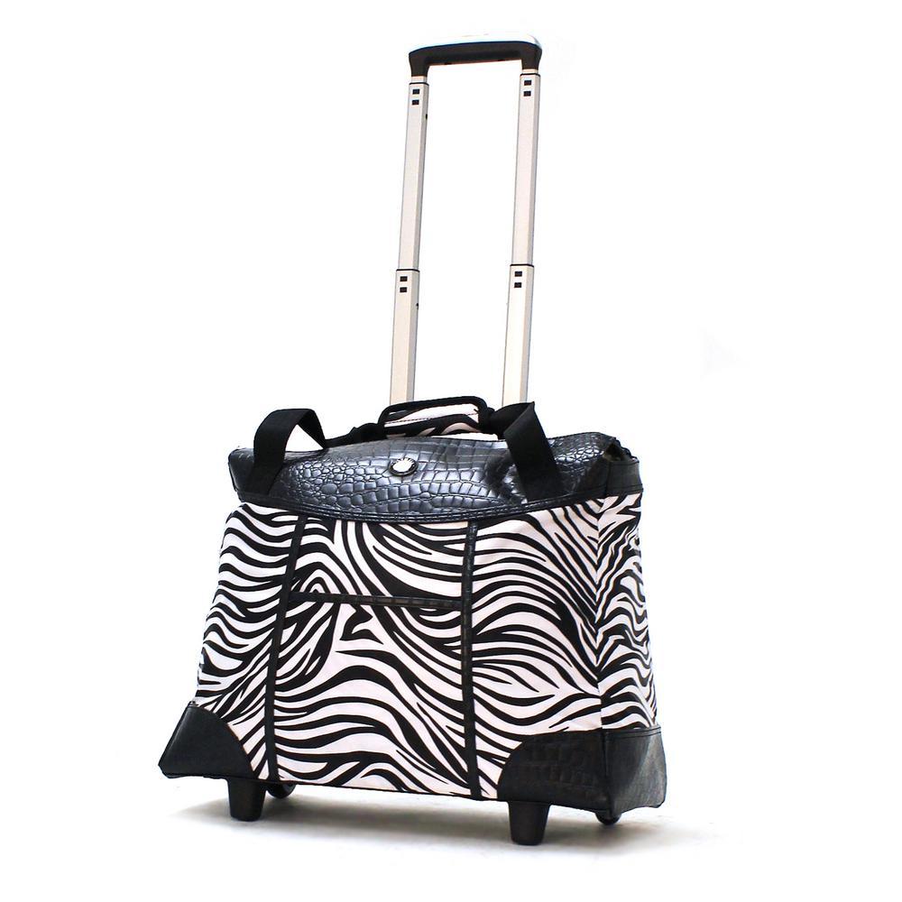 Deluxe Fashion Zebra Rolling Tote