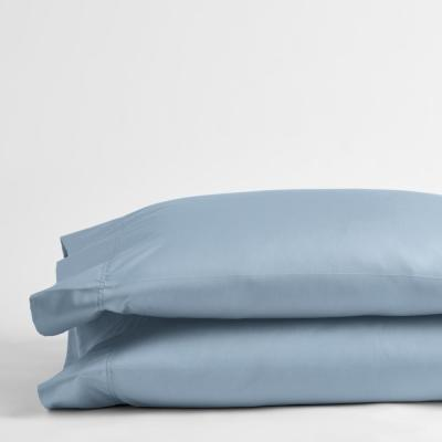 Misty Blue Solid 300 Thread Count Bamboo Cotton Sateen King Pillowcase (Set of 2)