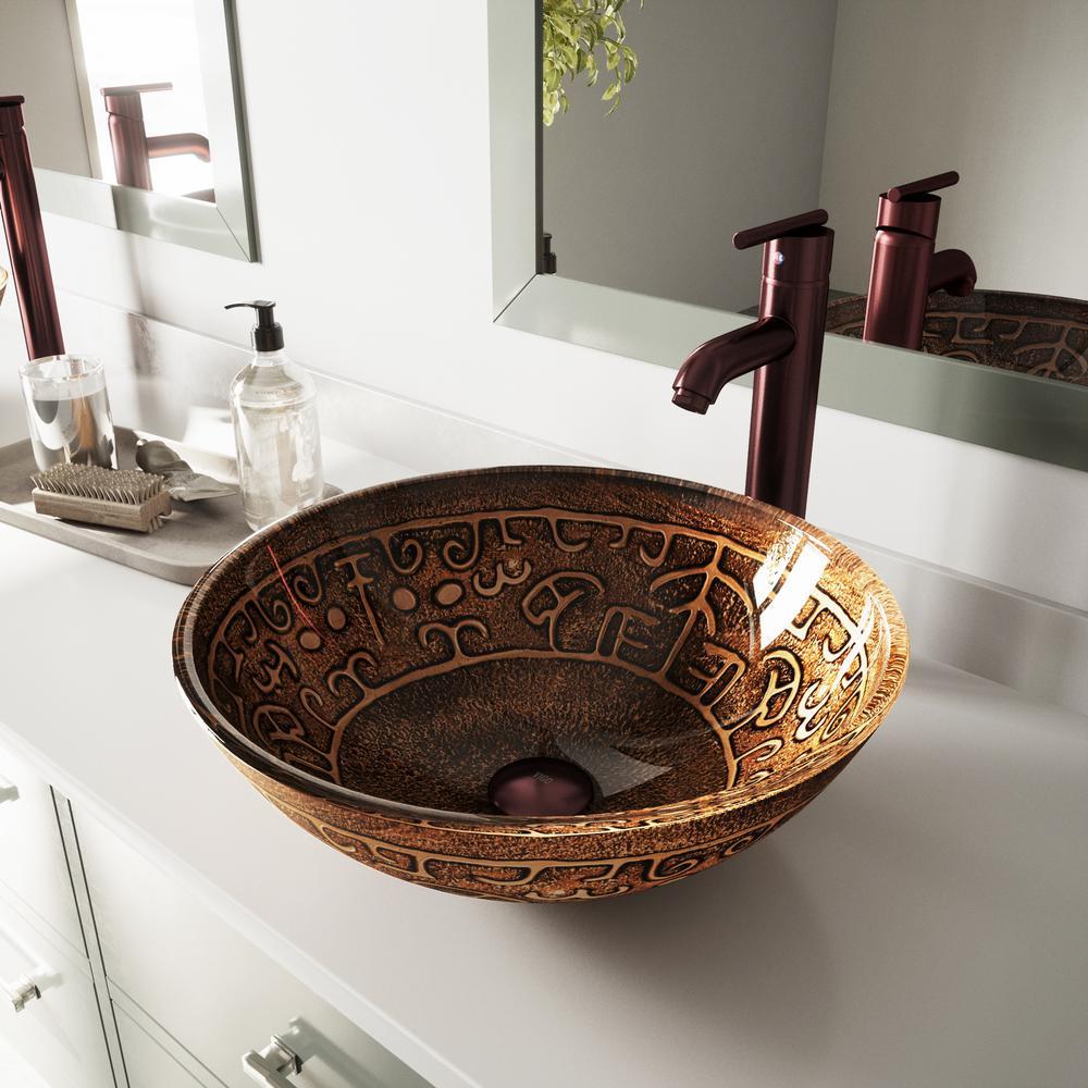 Vessel Bathroom Sink In Copper Mosaic