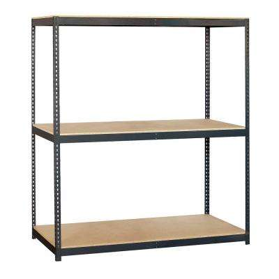 72 in. W x 84 in. H x 24 in. D 3-Shelf Heavy Duty Steel and Particleboard Solid Shelving