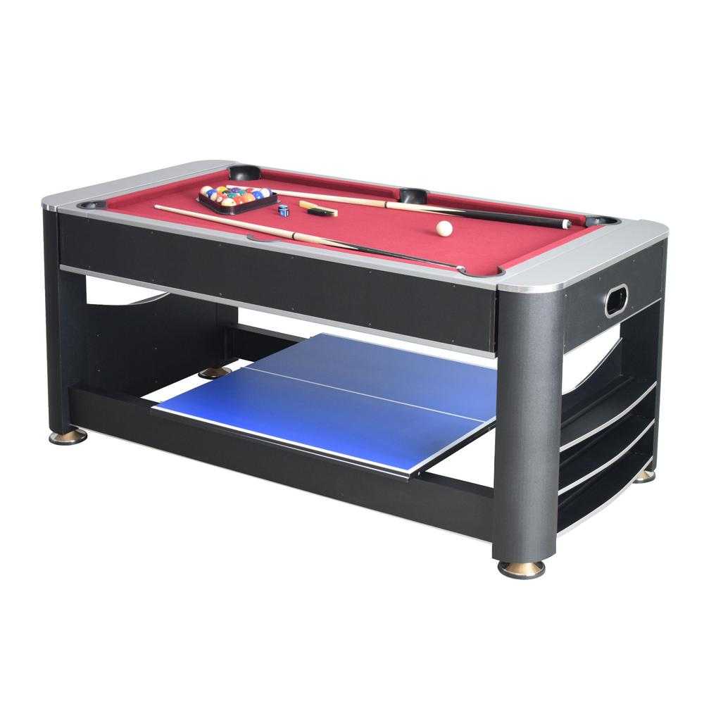 Triple Threat 3-in-1 Multi-Game Table with Billiards, Air Hockey and Tennis Hathaway 6 ft. Billiards