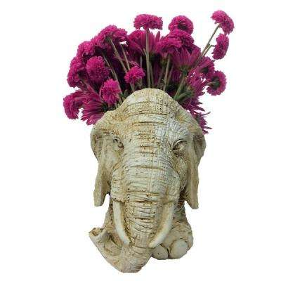 8.5 in. Antique White Elephant Mascot Muggly Mascot Animal Statue Planter Holds 3 in. Pot