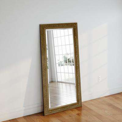 34 in. x 67.5 in. Opulent Gold Beveled Full Body Mirror