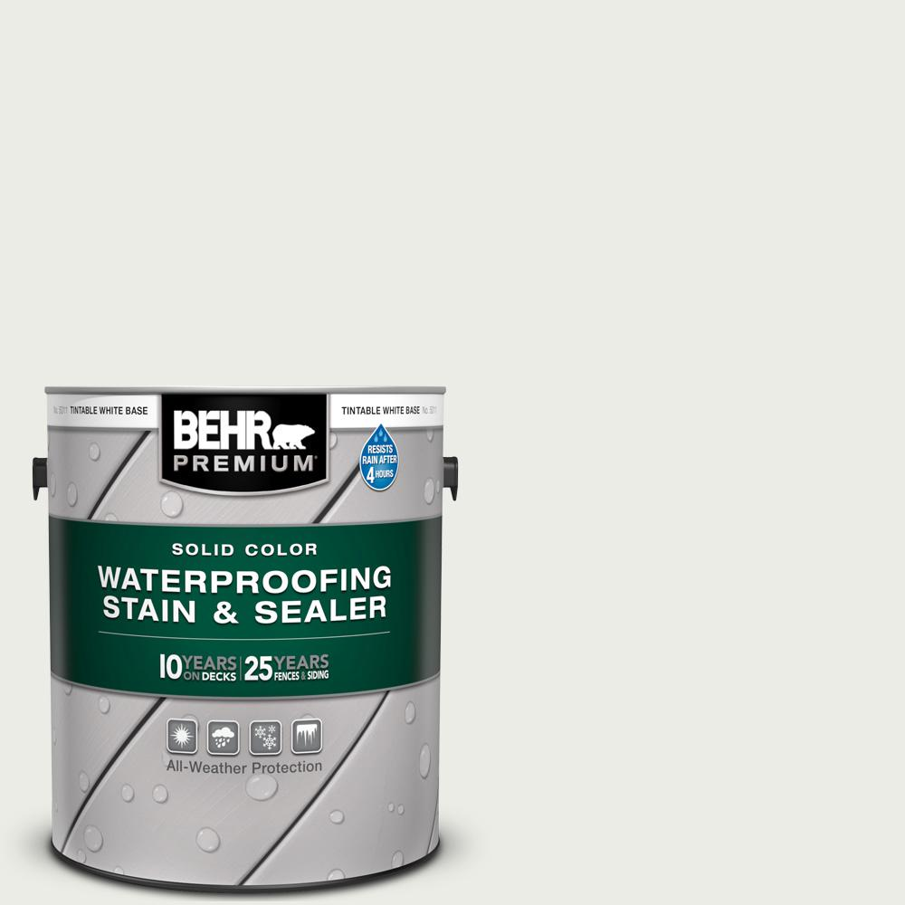 BEHR Premium 1 gal. #52 White Solid Color Waterproofing Exterior Wood Stain and Sealer