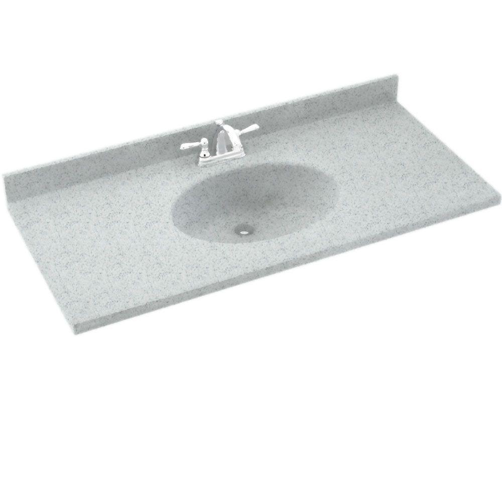 Swanstone Chesapeake 61 in. W Solid Surface Vanity Top in Tahiti Gray with Tahiti Gray Basin