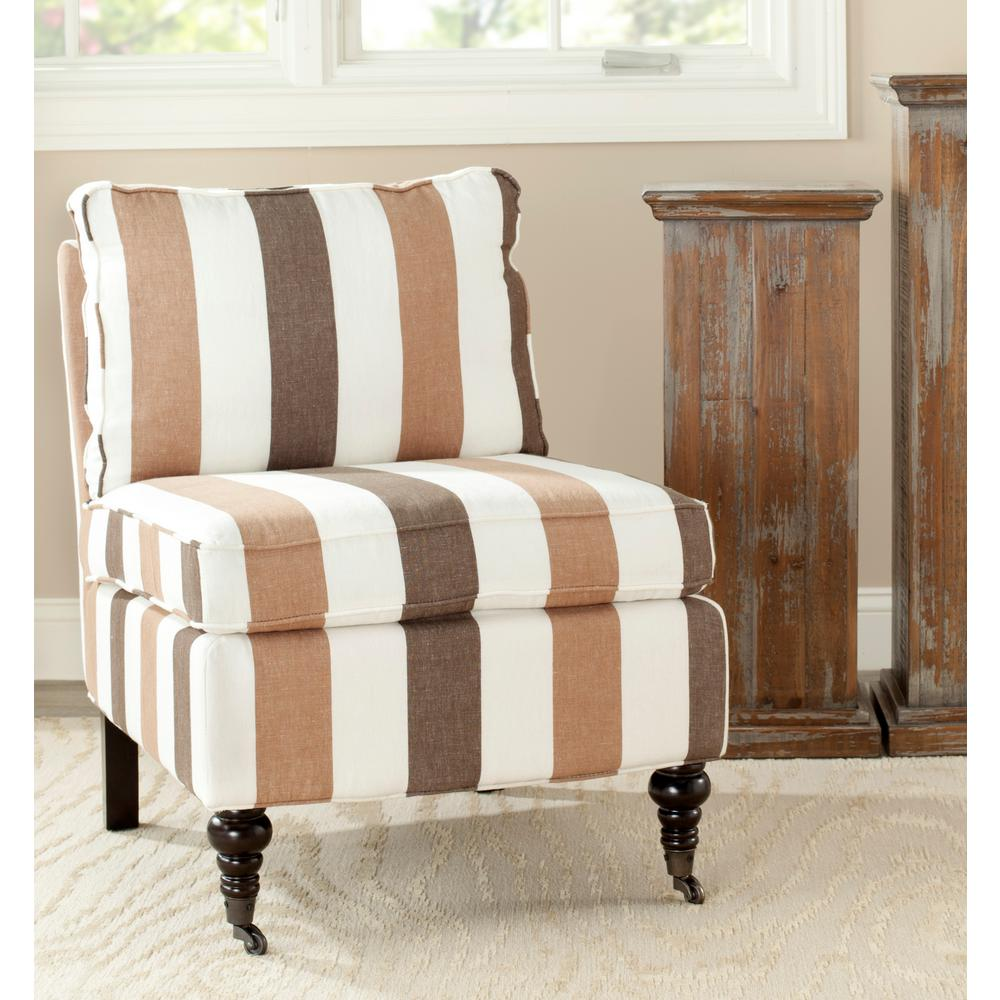 Safavieh Randy Multi Stripe Linen/Cotton Slipper Chair