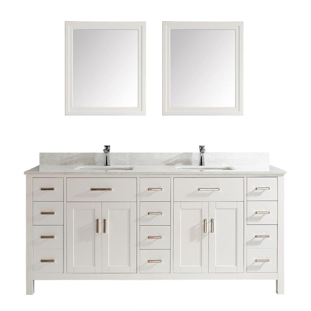 Studio Bathe Kalize II 75 in. W x 22 in. D Vanity in White with Thin Engineered Vanity Top in White with White Basin and Mirror