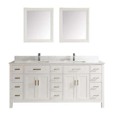 Kalize II 75 in. W x 22 in. D Vanity in White with Thin Engineered Vanity Top in White with White Basin and Mirror