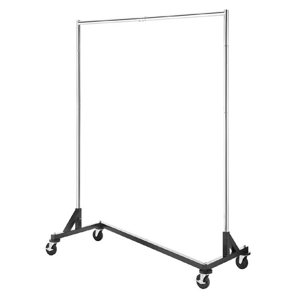whitmor in w x in h chrome commercial garment rack 6339 7548 the home depot. Black Bedroom Furniture Sets. Home Design Ideas