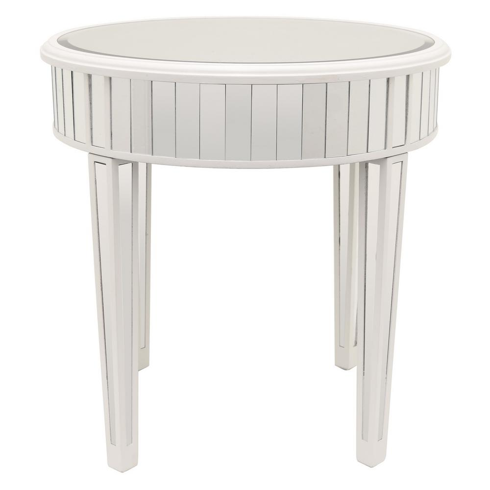 Mirrored Accent Table: THREE HANDS 23.5 In. X 23.5 In. White Mirrored Accent