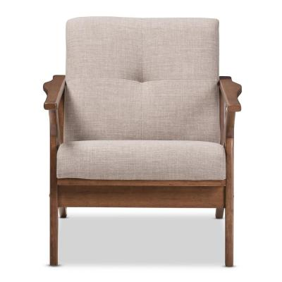 "Bianca Light Grey/""Walnut"" Brown Fabric Lounge Chair"
