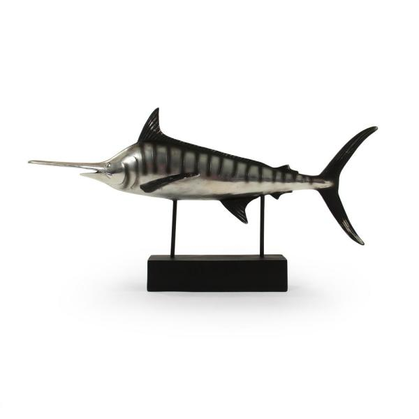 Resin Merallic Silver and Black Marlin on Black Stand