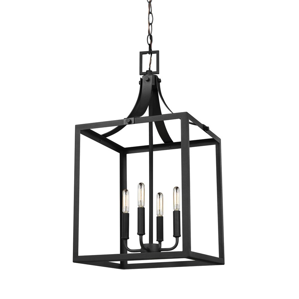 Sea Gull Lighting Labette 4-Light Black Hall-Foyer Pendant with Dimmable Candelabra LED Bulb