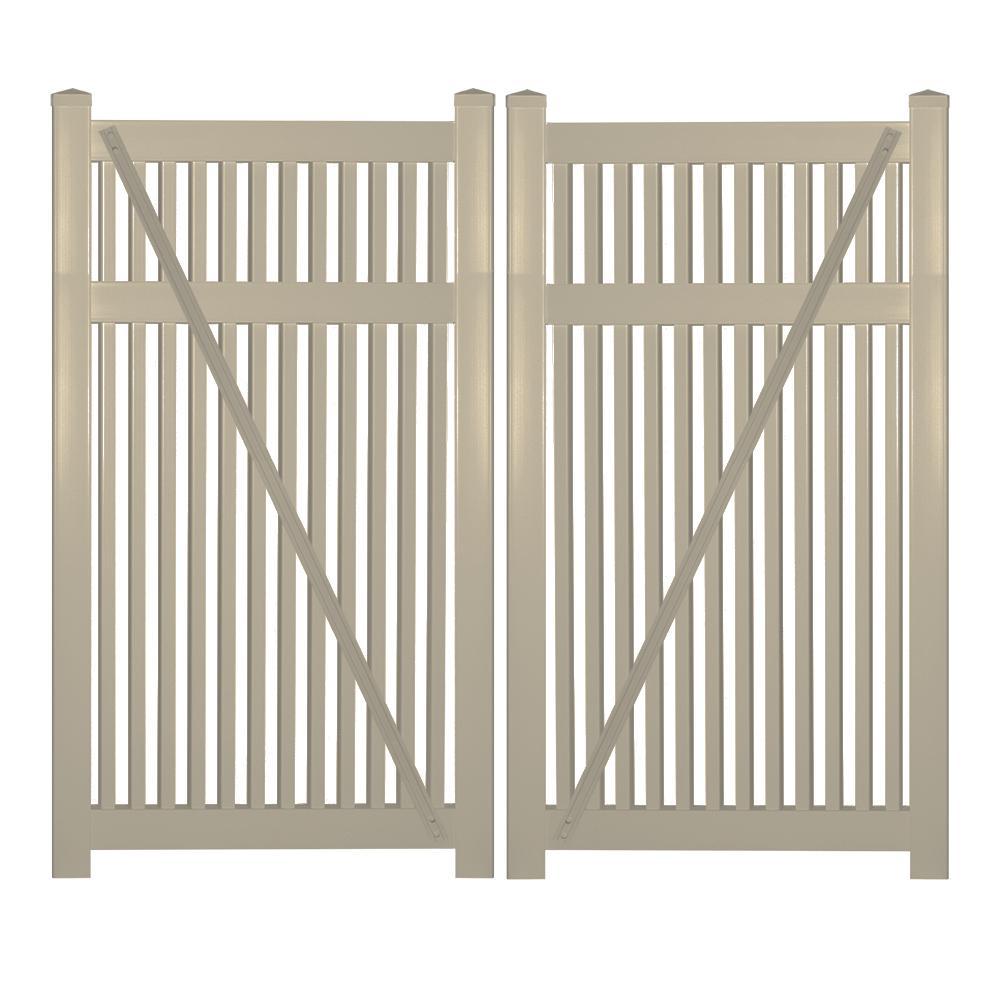 Williamsport 8 ft. W x 5 ft. H Khaki Vinyl Pool Fence Double Gate