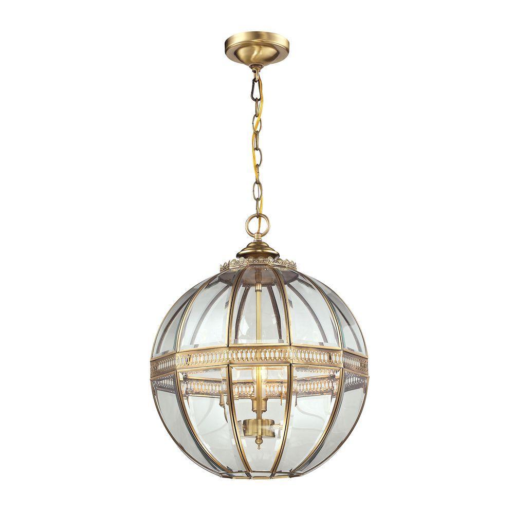 Randolph 3-Light Brushed Brass Pendant