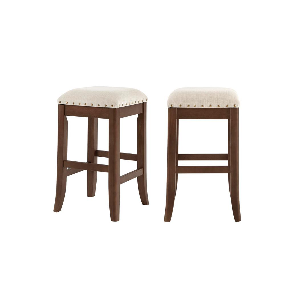 StyleWell Ruby Hill Haze Finish Upholstered Backless Counter Stool with Biscuit Beige Seat (Set of 2) (14.4 in. W x 23.8 in. H), Biscuit Beige/Haze was $129.0 now $77.4 (40.0% off)