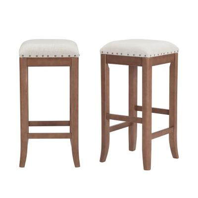 Ruby Hill Haze Oak Finish Upholstered Backless Bar Stool with Biscuit Beige Seat (Set of 2) (14.4 in. W x 30 in. H)