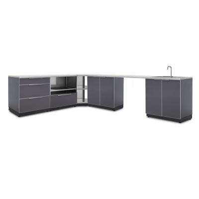 Slate Gray 7-Piece 112.38 in. W x 36.5 in. H x 24 in. D Outdoor Kitchen Cabinet Set with Countertops and Covers