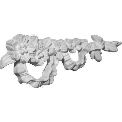 7/8 in. x 7-3/4 in. x 3 in. Polyurethane Floral Ribbon Right Onlay