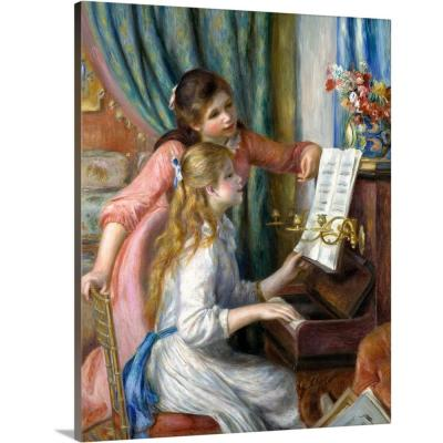 """""""Two Young Girls at the Piano"""" by Pierre Auguste Renoir Canvas Wall Art"""