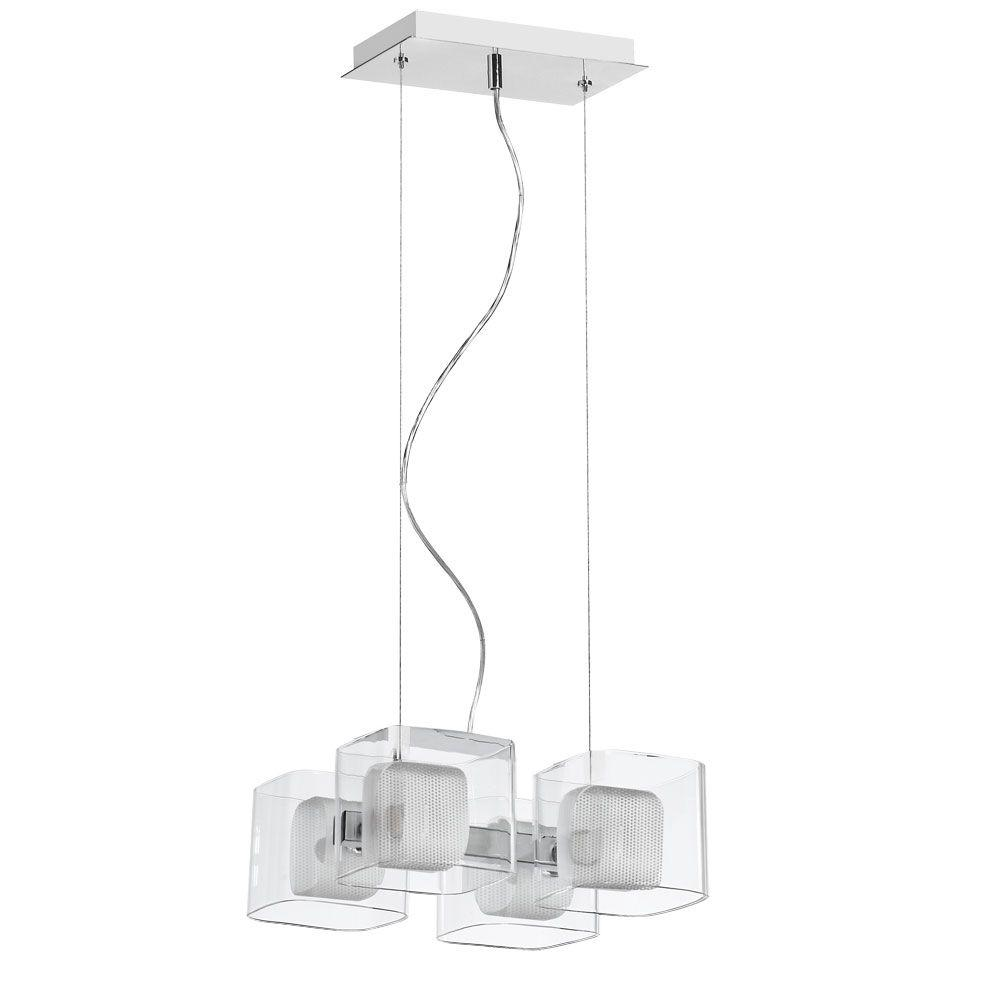 Radionic Hi Tech Courtney 4-Light Satin Chrome Pendant with Clear Glass Shade and Mesh Insert
