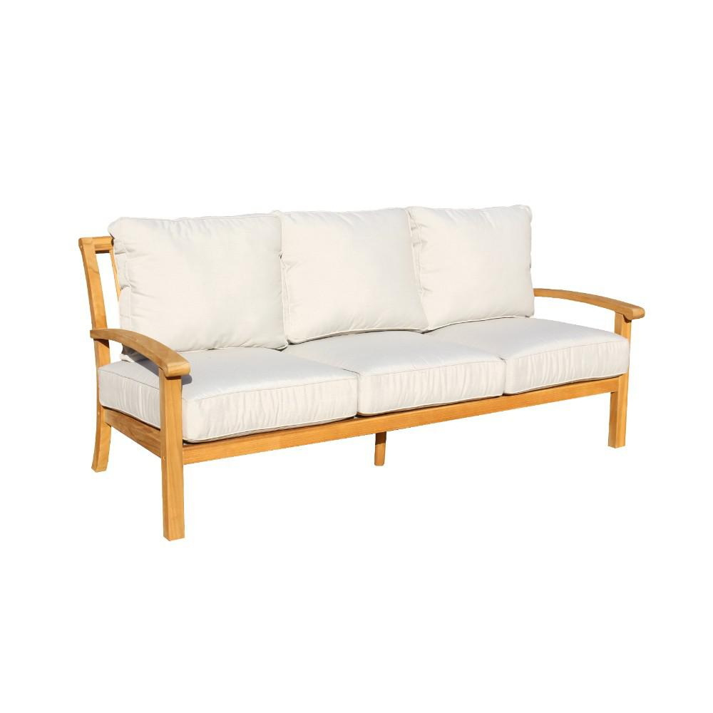 Courtyard Casual Heritage Collection Teak Outdoor Sofa With Grey Cushions