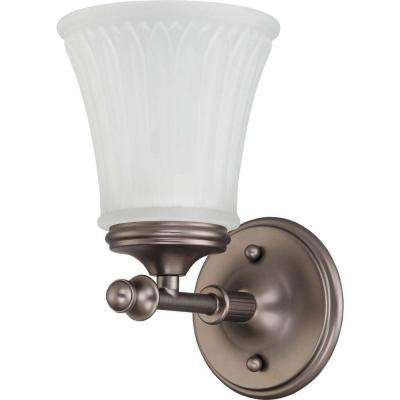 1-Light Aged Pewter Bath Vanity Light with Frosted Etched Glass