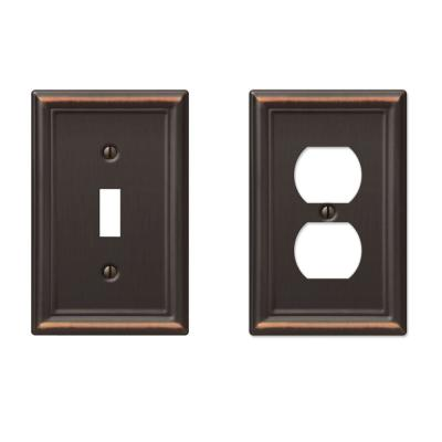 Ascher 1 Gang Toggle and 1 Gang Duplex Steel Wall Plate Combo Pack - Aged Bronze