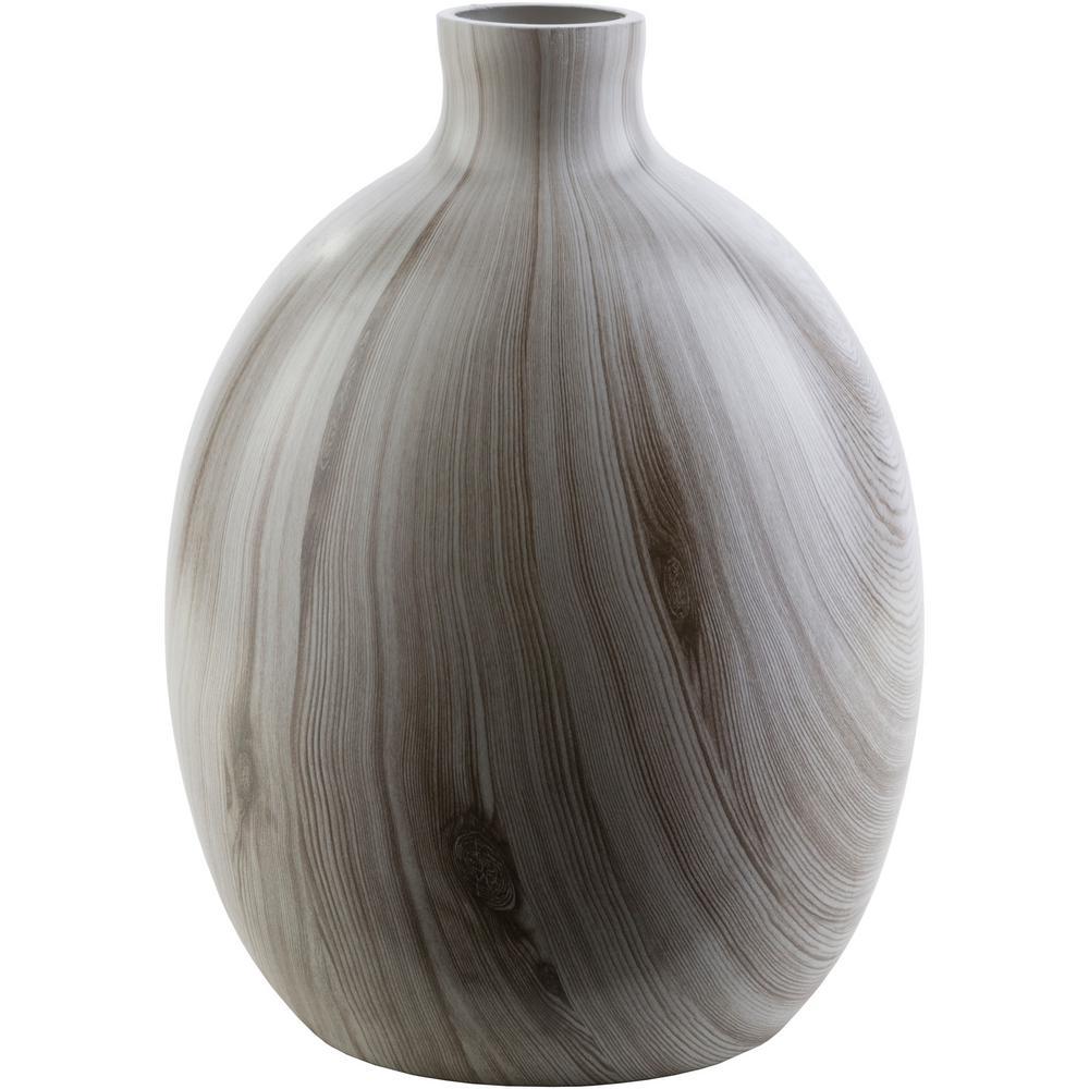 Azola 13.12 in. Gray Glass Decorative Vase