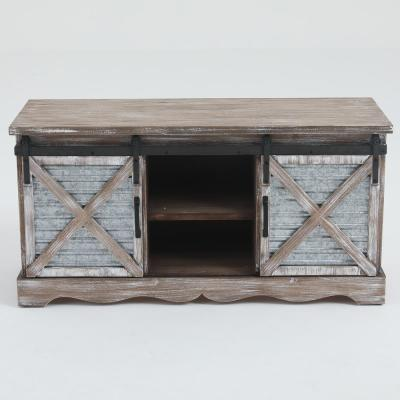 Natural Wood Entry Cabinet with Sliding Door