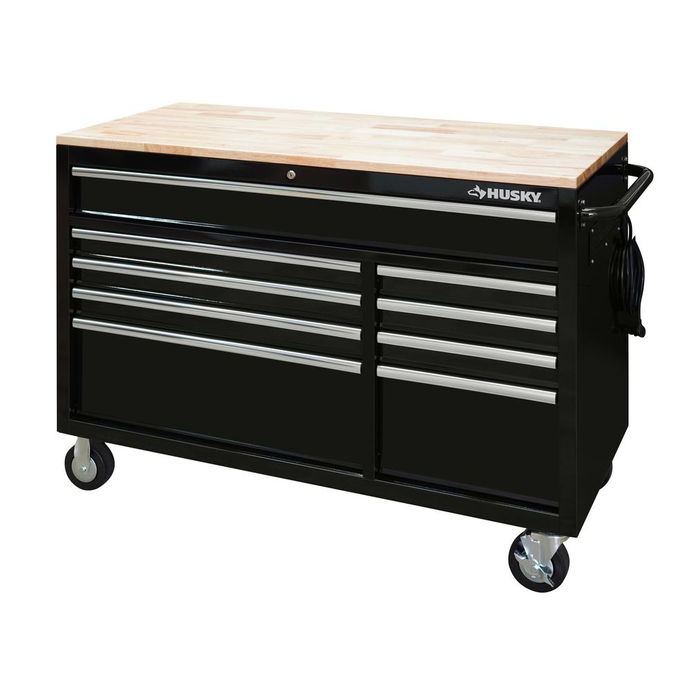 Husky 52 in. x 24.5 in. D 9-Drawer Mobile Workbench with Solid Wood Top, Black