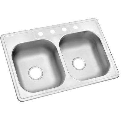 Drop-In Stainless Steel 33 in. 4-Hole Double Bowl Kitchen Sink