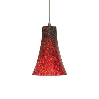 Mini-Indulgent 1-Light Bronze Xenon Mini Pendant with Red Shade