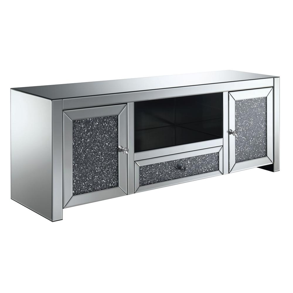 Furniture of america oliver silver glass tv stand