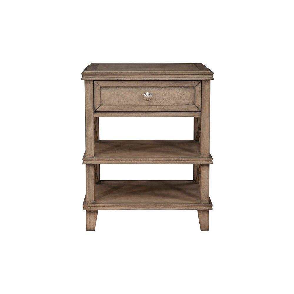 French 1-Drawer Truffle Brown Mahogany Wood Nightstand