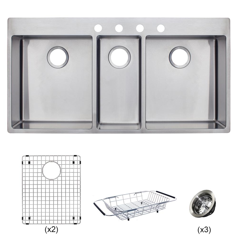 Triple Bowl Kitchen Sinks Franke vector all in one dual mount stainless steel 43 in 4 hole franke vector all in one dual mount stainless steel 43 in 4 workwithnaturefo