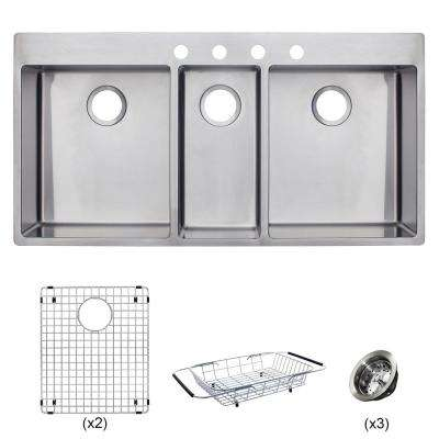 Vector All-in-One Dual Mount Stainless Steel 43 in. 4-Hole Triple Bowl Kitchen Sink Kit