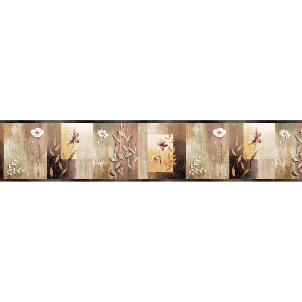 Chesapeake Bonnard Olive Colorblock Floral Wallpaper Border Sample Mea24624bsam The Home Depot