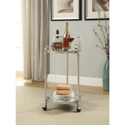 Round Silver Mirror Bar Cart