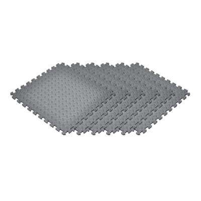 Gray 24 in. x 24 in. EVA Foam Solid Color Diamond Plate Interlocking Tile (18-Tile)