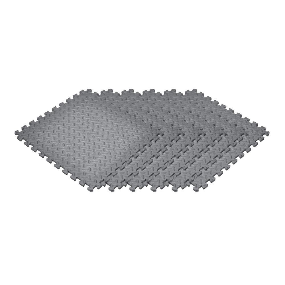 Gray 24 in. x 24 in. EVA Foam Solid Color Diamond