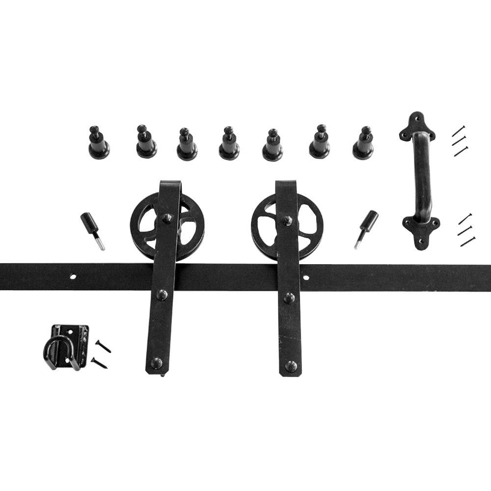 Heavy Duty Strap Black Rolling Barn Door Hardware Kit