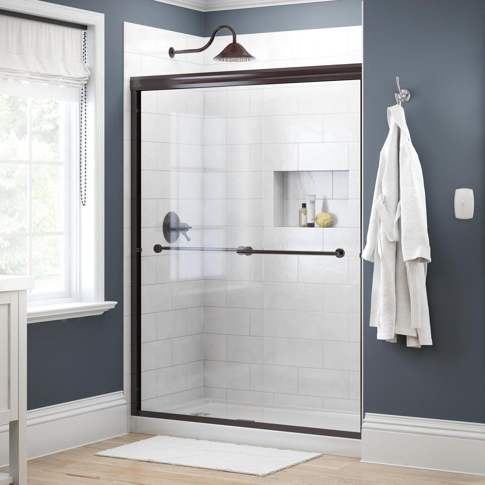 Delta Crestfield 60 in. x 70 in. Semi-Frameless Traditional Sliding Shower Door in Bronze with Clear Glass